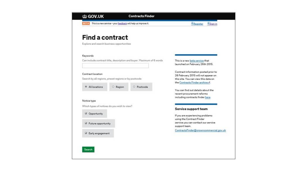GOV.UK contract finder